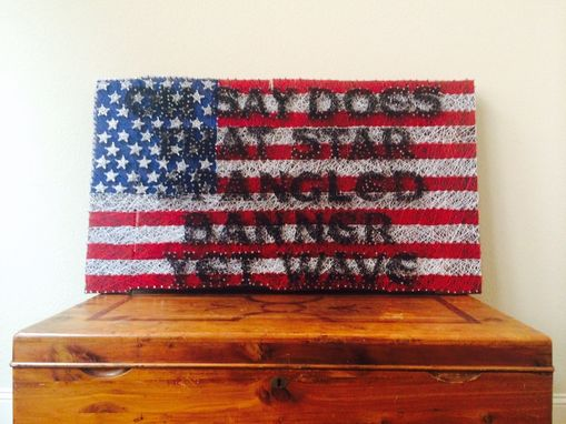 "Custom Made ""Patriotic America"" 46x26 Threaded Flag On Recycled Pallet"