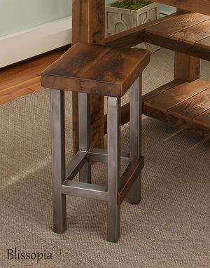 Custom Made Industrial Bar Stool - Counter Stool - Island Stool - Reclaimed Wood And Steel Square Legs