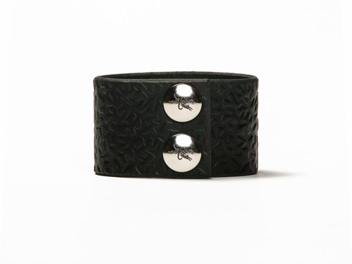 Custom Made Leather Cuff - Black Latigo - Embossed With Thorns - Steel Fasteners - 1.5 Inches Wide