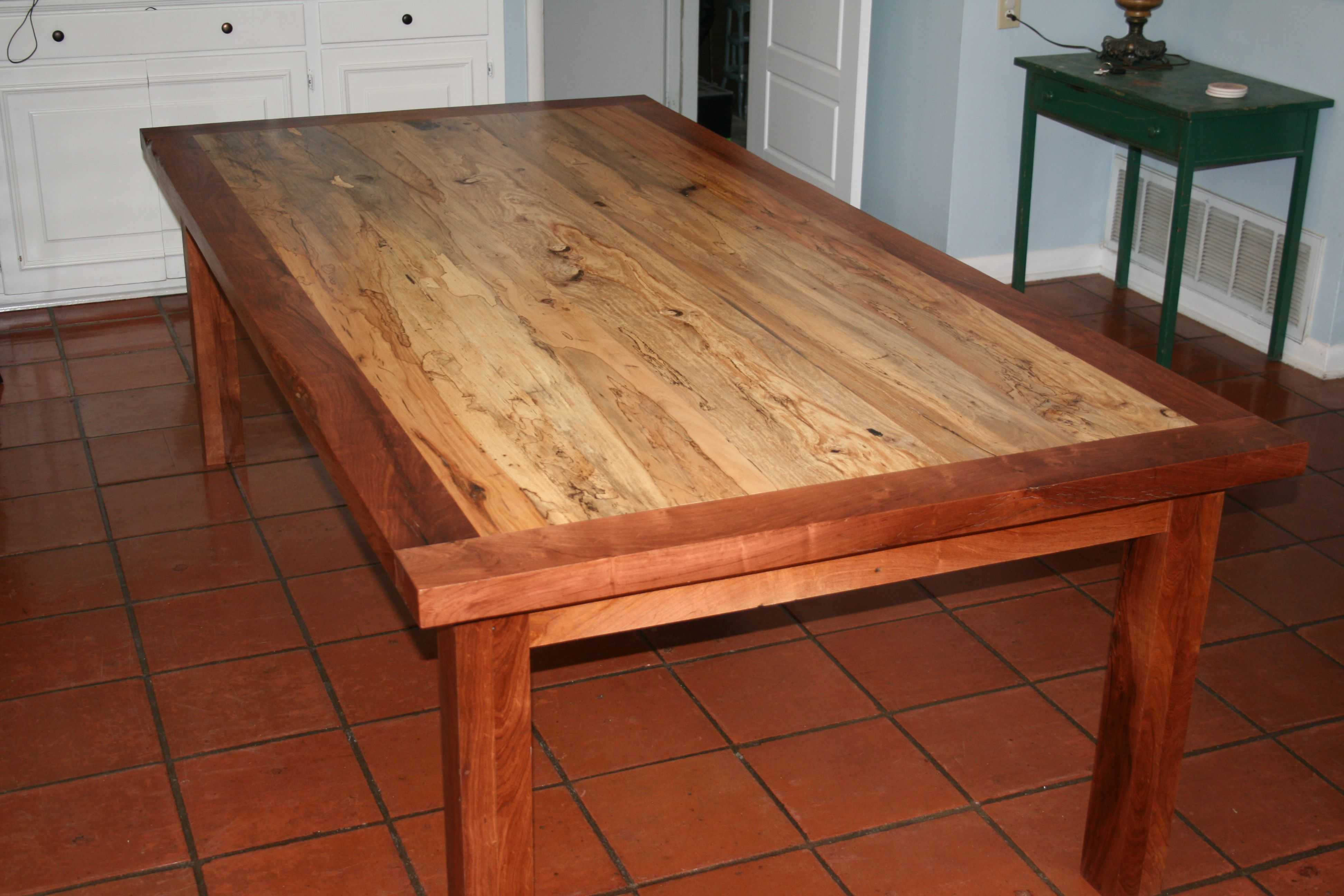Hand Made Spalted Pecan Table With Mesquite Frame And Legs by