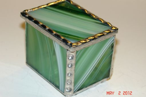 Custom Made 2 X 1 1/2 X1 1/ 2 Bright White And Periot Green Stained Glass Boxes