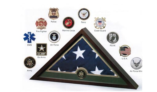 Custom Made Medallion Flag Display Case, Memorial Flag Display Case