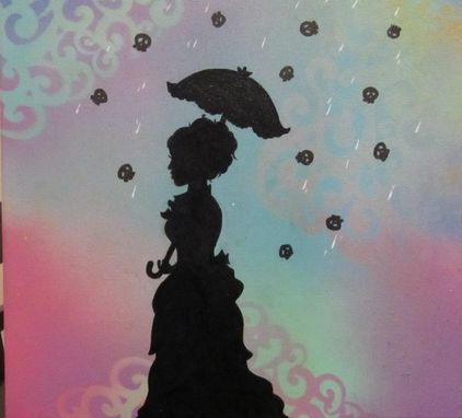 Custom Made Silhouette Painting - Raining Skulls