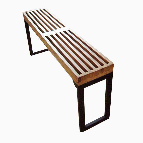 . Mid Century Modern Bench With Steel Legs