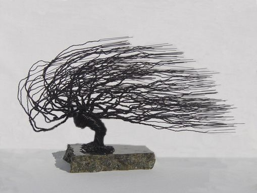 Custom Made Windswept Wire Bonsai Tree Sculpture