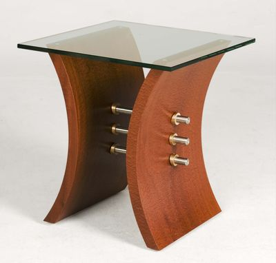 Custom Made Modern Glass Top End Table (Pas De Deux End Table)