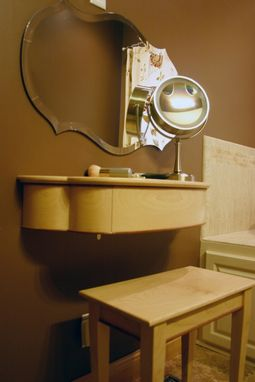 Custom Made Petite, Wall Mounted Women's Makeup Vanity With Drawer And Stool