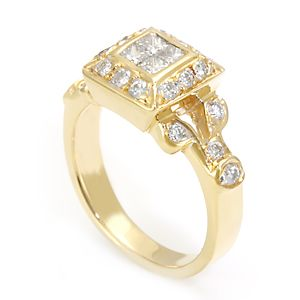 Custom Made Princess And Round Diamond In 14k Yellow Gold, Diamond Ring, Ladies Ring