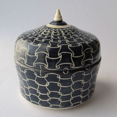 Custom Made Handmade Stoneware Covered Jar With Full Hounds Tooth Pattern