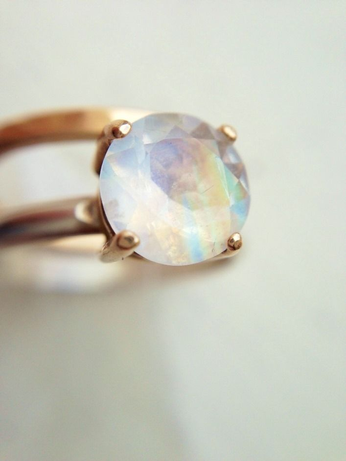 custom made married metal 7mm magnificent rainbow moonstone ring engagement ring - Moonstone Wedding Ring