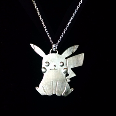 Custom Made Pokemon Pikachu Sterling Silver Pendant