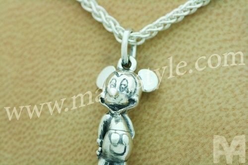 Custom Made Sterling Silver Mickey Mouse Pendant