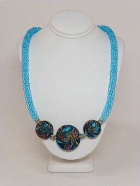 Custom Made Set - Matte And Transparent Aqua Kumihimo Necklace And Earrings
