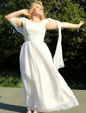 Custom Made Vintage 50s Silk Chiffon White Wedding Dress Grecian Goddess With Angel Scarf Sleeves