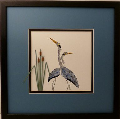 Custom Made Quilled Double Heron Wall Art Framed
