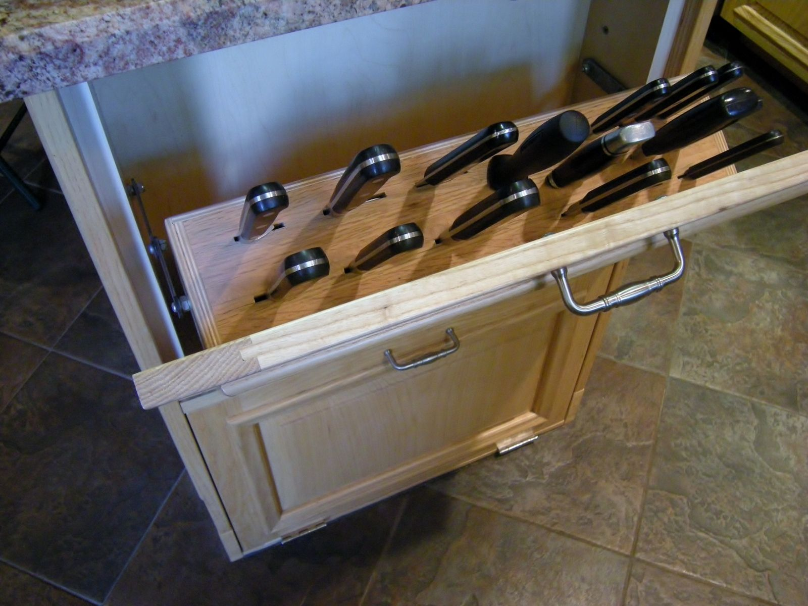 Hand Crafted Concealed Knife Block Cutting Board Storage By Accent Products Company Custommade