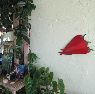 Custom Made Red Chili Peppers - Kitchen Wall Art Sculpture Reclaimed Metal Vegetable Art Decor
