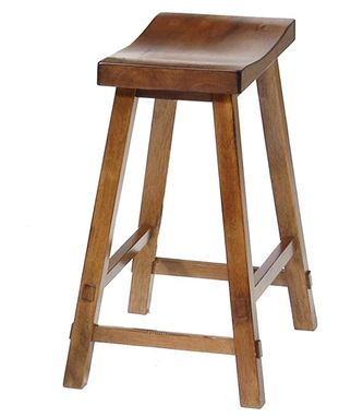 Custom Made Solid Mahogany Oak Finish Sawhorse Barstools