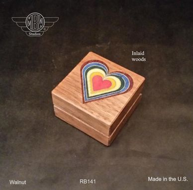 Custom Made Ring Box, Rainbow Heart In Walnut.   Rb-141