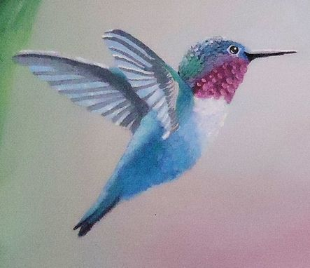 Custom Made Bird Painting: Blue Hummingbird Flying Near Pink Hibiscus
