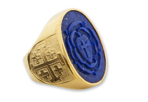 Custom Made Lapis Esoteric Sculpted Mans Ring