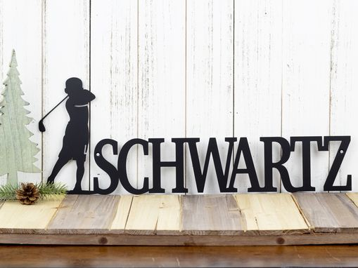 Custom Made Personalized Golf Name Sign, Boy Golfer - Matte Black Shown