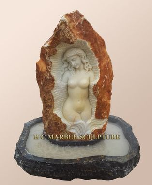 Custom Made Nude Maiden Carved Inside Stone Rock Fountain