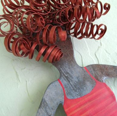 Custom Made Handmade Upcycled Metal Yoga Gal Wall Art Sculpture In Red And Blue