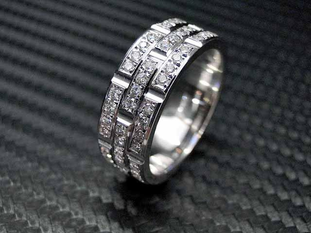 hand crafted 14k white gold mens diamond wedding band engagement ring by jewelryking design lab custommadecom - Diamond Wedding Rings For Men