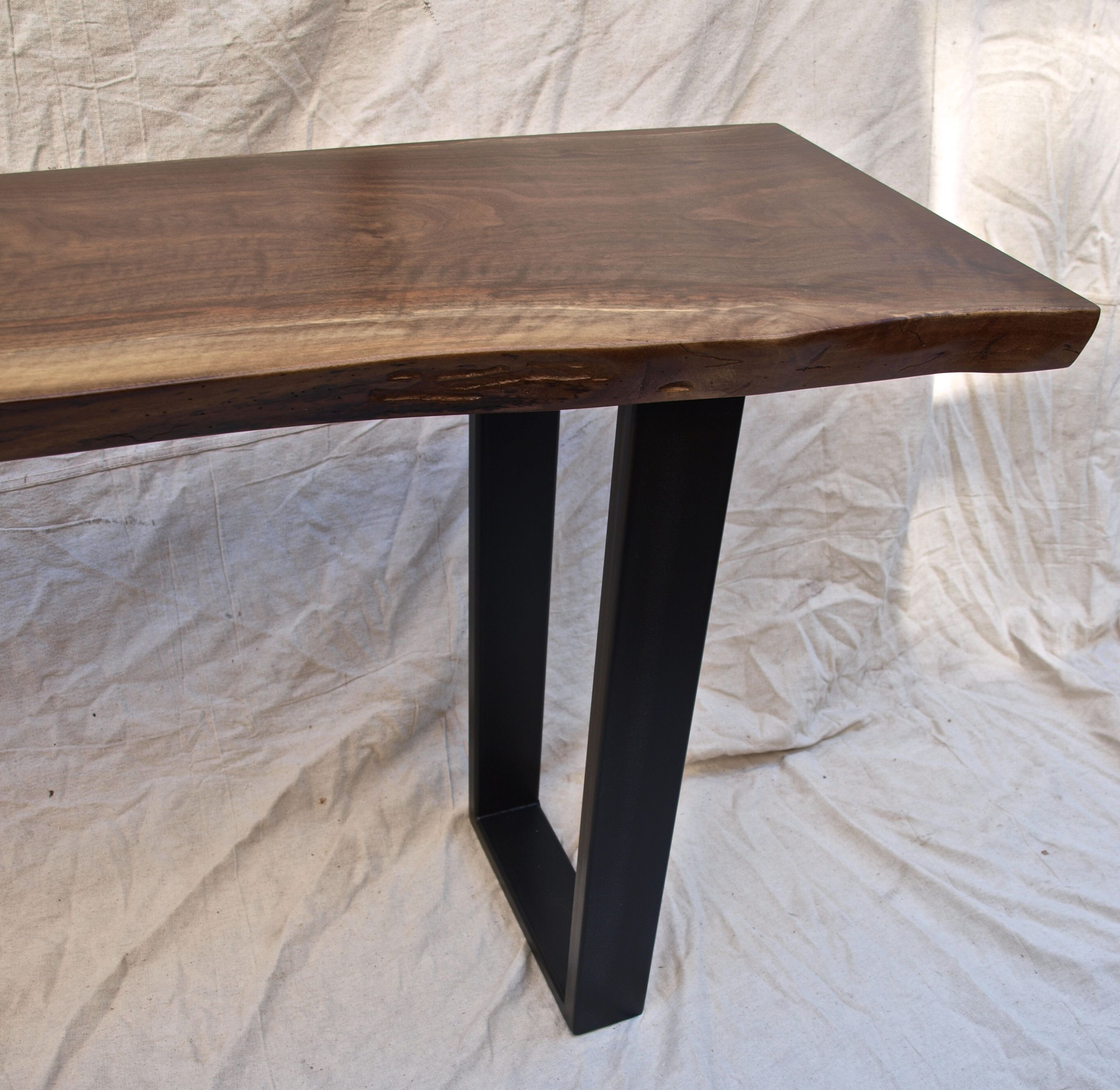 Walnut Console Table custom made live edge walnut console tablewitness tree studios