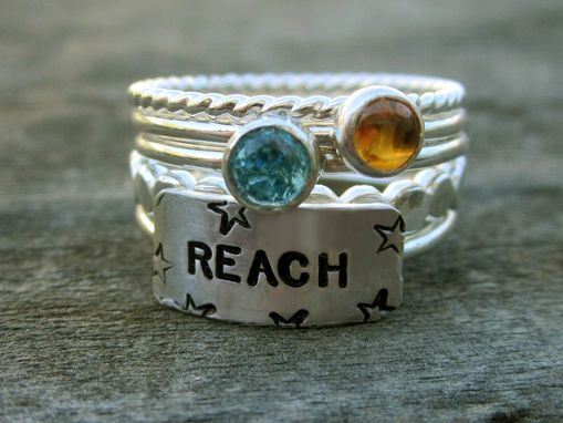 Custom Made Sterling Silver Stacking Rings With Gemstones