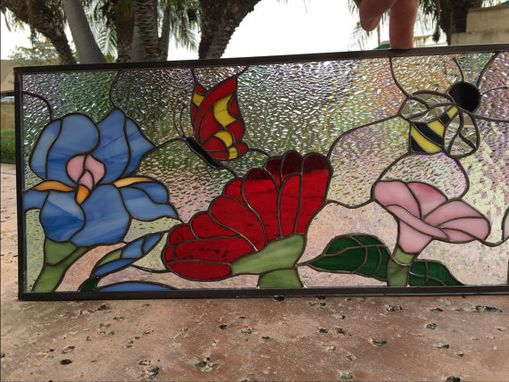 "Custom Made Beautiful! "" Butterfly, Bee & Flowers"" Stained Glass Window"