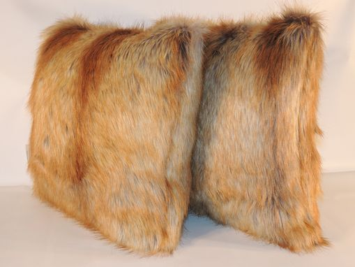 Custom Made Fox Tail Gold Faux Fur 18 X 18 In. Decorative Pillow - Set Of 2