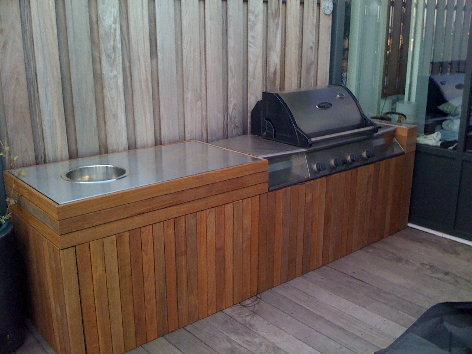 Hand made outdoor grill and hot tub storage by endless for Outdoor grill cabinet design