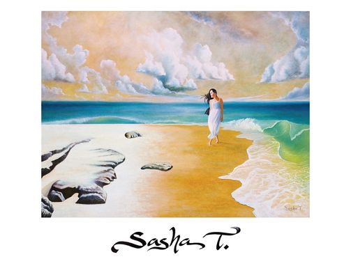 Custom Made Ocean, Beach, Surf, Clouds, Women Goddess Print On Paper, Blue Green Gold And White