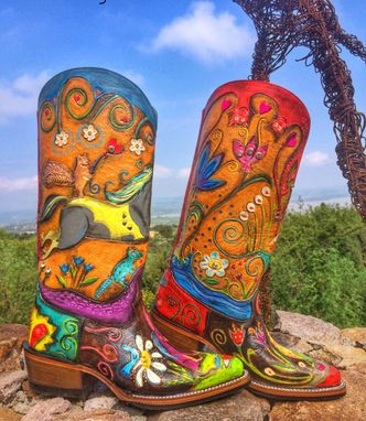Custom Made Custom Hand Tooled - Happyart Designed Cowboy Cowgirl Boots Made To Order Boots.