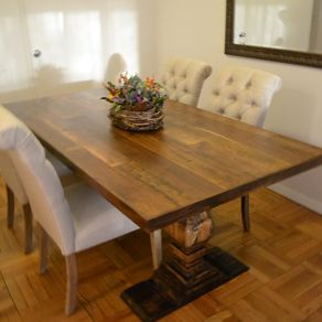 Hand crafted barn wood dining table with singer base by for 5 foot dining room table