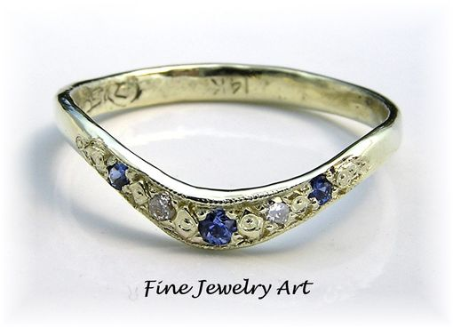 Custom Made 14k Green Gold Curved Ring Band Sapphire & Diamond