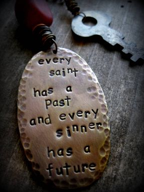 "Custom Made Stamped Brass Plate And Antique Key Necklace ""Perception Is Everything''"