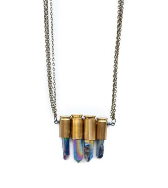 Custom Made Bullet Shell Necklace With Titanium Quartz Crystals