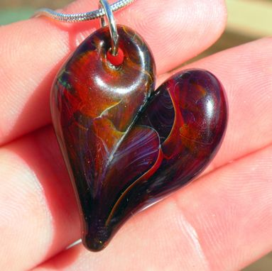 Custom Made Heart Necklace Glass Jewelry Silver Amber Purple Sparkles