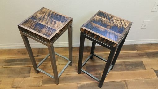 Custom Made Reclaimed Wood & Steel Stool