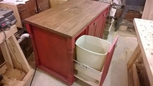 Custom Made Aged Red Kitchen Island