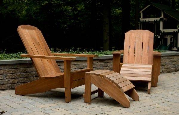 custom craftsman style adirondack chair ottoman of mahogany by