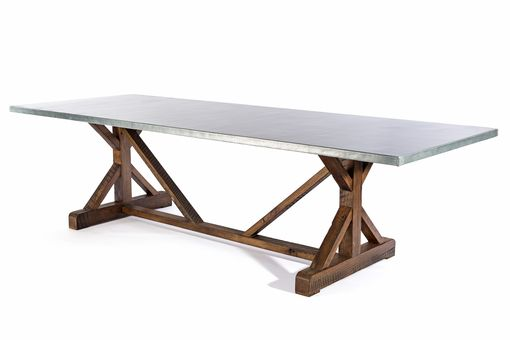 Custom Made Zinc Table Zinc Dining Table -  French Trestle Zinc Top Table