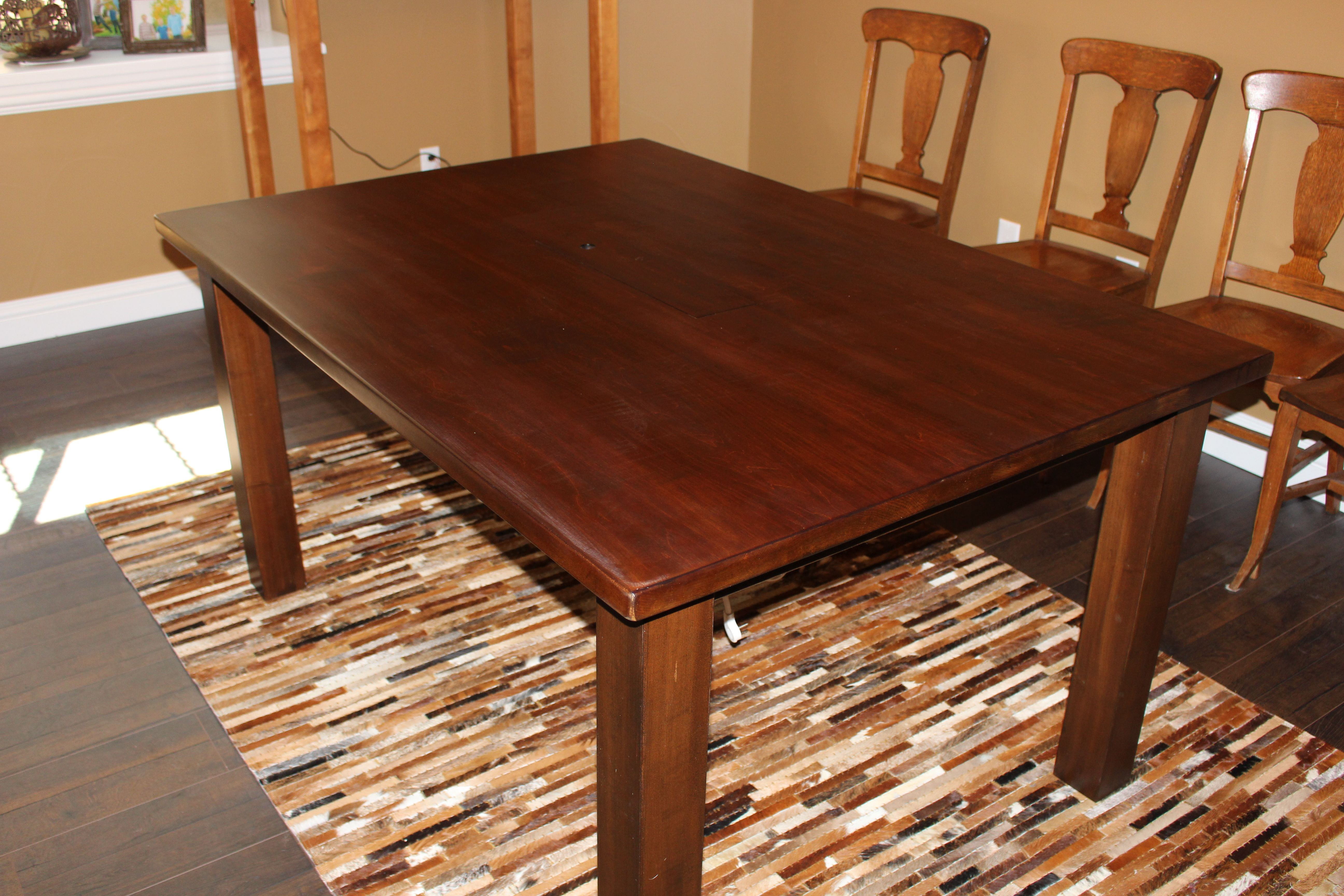 Hand Made Salvaged Oak Conference Table Built In Power Strip By - Conference room table power strip