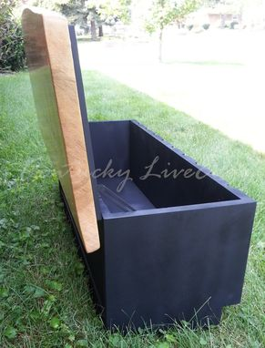 Custom Made Live Edge Coffee Table With Storage- Storage Trunk- Modern-Blanket Chest- Art Deco- Bench- Toy Bin