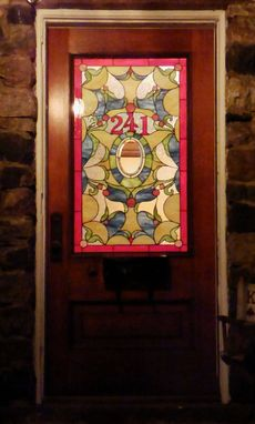 Custom Made Stained Glass Door Window - Decorative Leaves (W-112)