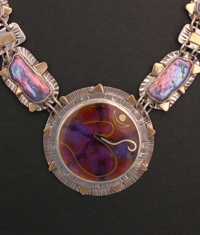 Hand Made Yoga Om Symbol Pendant Necklace By Julie Glassman Enamel