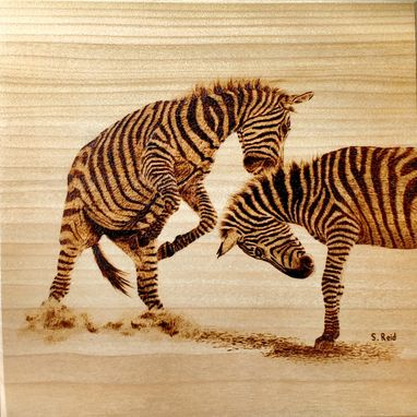 Custom Made Two Zebra Stallions Wood Burning